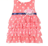 2015 summer chiffon dots printed girls dress lace rose design cake dress for kids