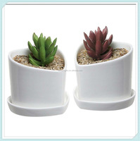 Set Of 2 Heart Shaped White Ceramic Mini Flower Planter Pots With Removable Draining Dishes