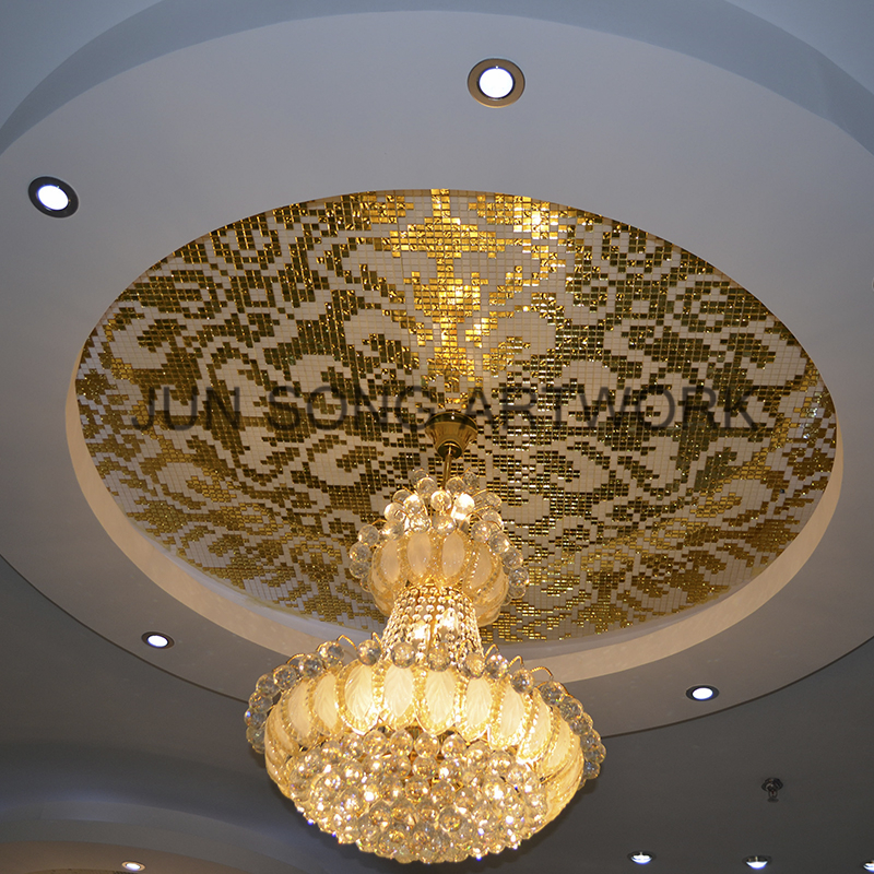 MP-DA02 Damascus Oro Giallo Classic Italian Design Gold Mosaic Ceiling Tile Glass Mosaic Pattern