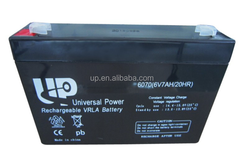 6V7AH Lead-Acid Battery rechargeable agm battery for emergency light / security system