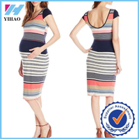 Yihao New Fashion Maternity clothes Striped Cap Sleeve bodycon summer Dress wholesale Latest design maternity wear