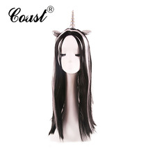 top quality synthetic hair long wavy fashionable horn party wigs