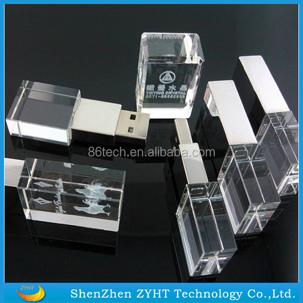 Cheapest 4Gb Crystal Usb Pen Drive with Custom Logo