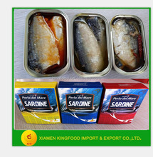 factory supplier canned sardine preservation in Vegetable spicy Oil 125g exporter