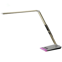 LED foldable table light with clock perfessiona touch control reading desk lamp