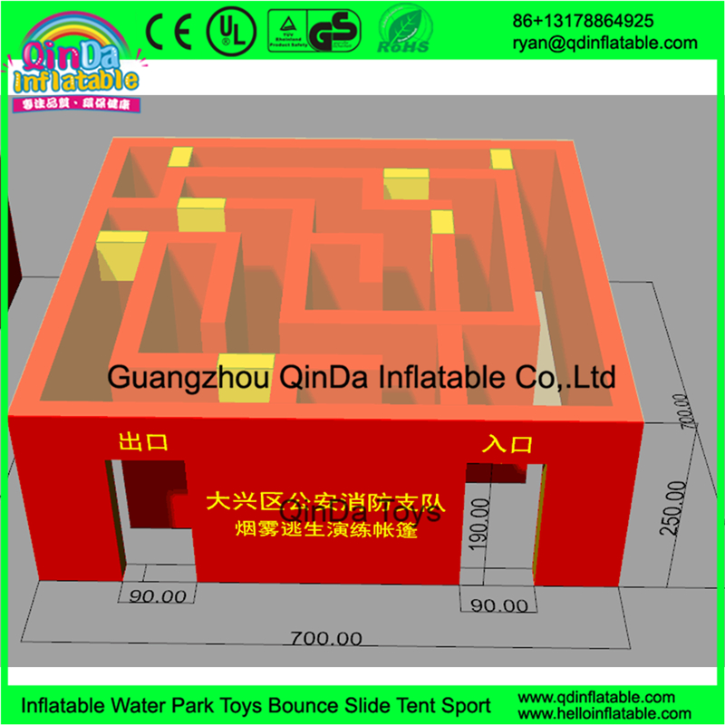 pop up customized inflatable fire training house / inflatable fire tent escap smoke booth