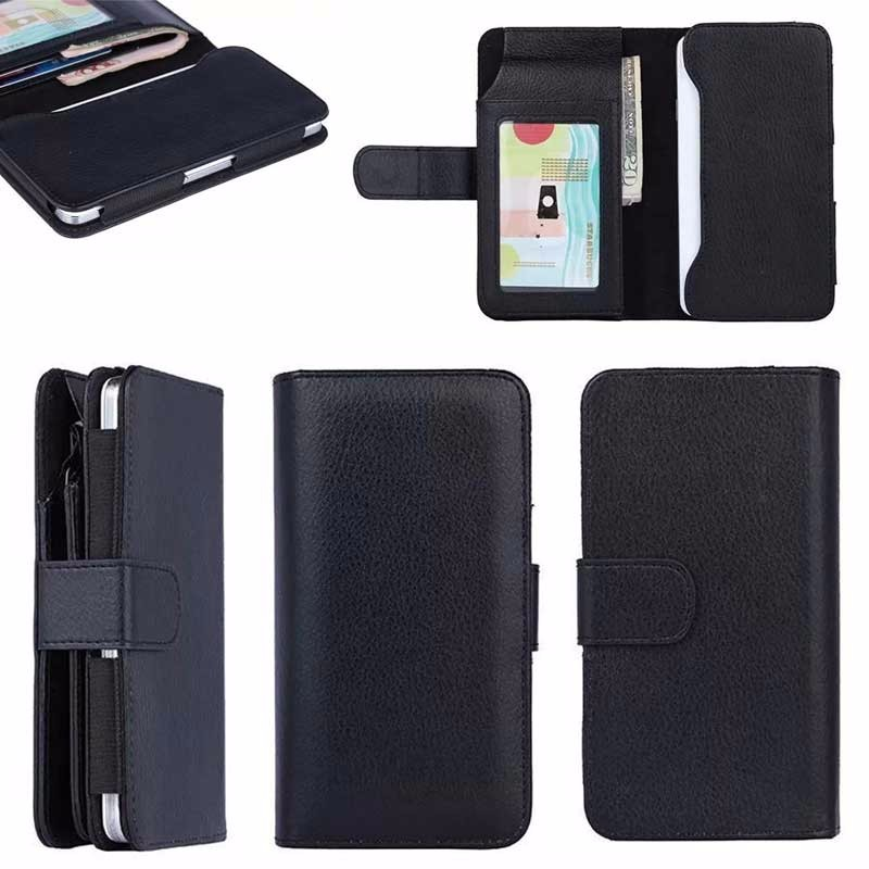 5 inch black cover luxury Wallet Leather Case for iPhone 8.for iphone 8 plus leather case