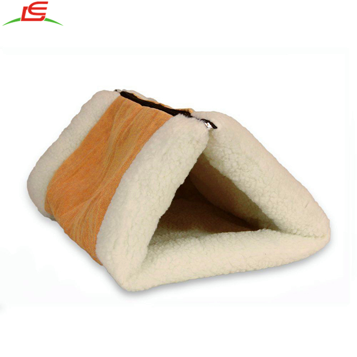 2 in 1 Pet Crate House Cat Bed Tunnel Fleece Tube Mat