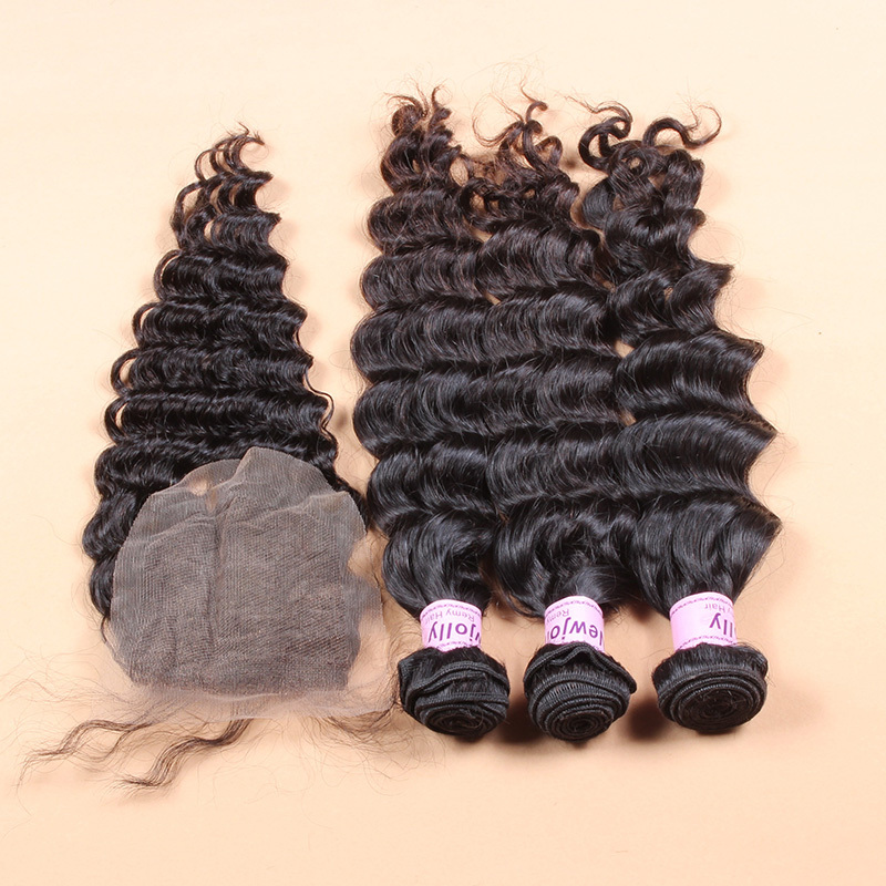 100% virgin malaysian water wave hair with bleached closure 4*4 size 100% human hair closure