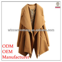 2015 clothing factory directly price hottest fancy newly asymmetrical design ladies long overcoat