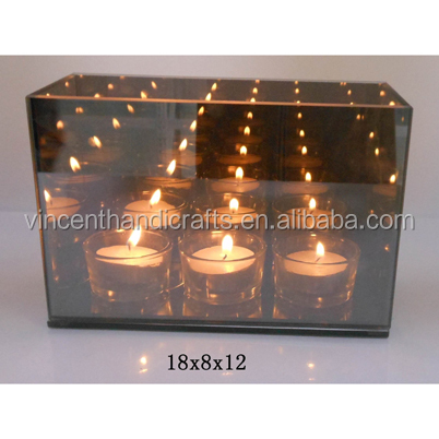 Mirror glass candle holder 3 tier tealight holder, Great housewarming gift for family, friends, neighbors and acquaintances