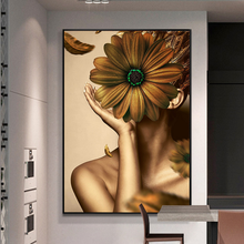 Nordic HD Golden Girl 3D Pictures Oil Painting Flower Photography Decoration Canvas Painting Hot Sex Women