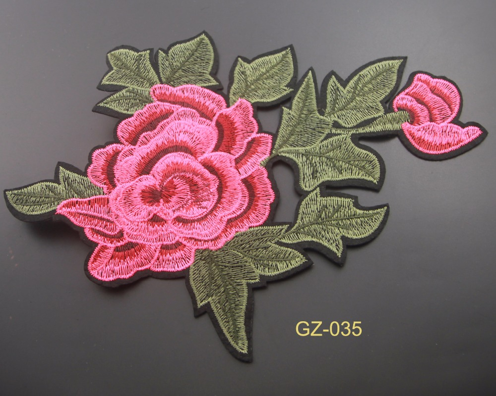 Fabric For DIY Jewelry Craft Rose Flower Pink Unicron Jeans Clothing Embroidery Lace Patch