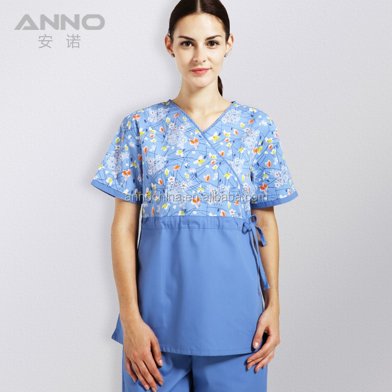 Cute Prints Mock Wrap Y-Neck Scrub Top Scrubs Wholesale