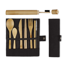 Environmentally Friendly Products Black 100% Degradable Zero Pollution Reusable Bamboo Wooden Travel <strong>Cutlery</strong> <strong>Set</strong>