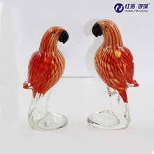 wholesale red color parrot shape glass craft 0039
