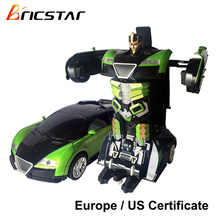 2.4G Battery Operated deformation rc robot car, one key change robot car toy for kids