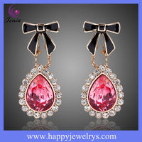NEWEST TYPE 18K GOLD PLATED EARRINGS!! PINK CRYSTAL BUTTERFLY GOLD EAR TOPS DESIGNS !! !! (KE312-1)