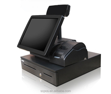 15 inch touch screen POS system all in one/cash register machine