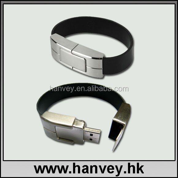 leather bracelet usb flash drive 32gb/embossed leather wristband usb disk