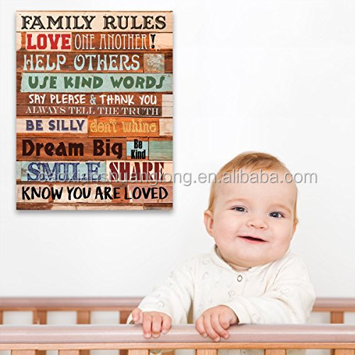 Family Rules Wooden Look Wall Art Sign Plaque
