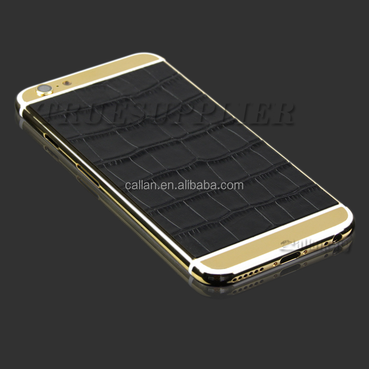 24kt gold housing with genuine leather back cover for iphone 6 housing custom