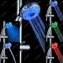 Temperature sensor 3 color Adjustable 3 water jets shower head with led light