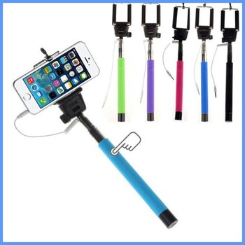 Z07-5 aluminum selfie stick tripod with cable hight quality wired selfie monopod for iphone for cellphones