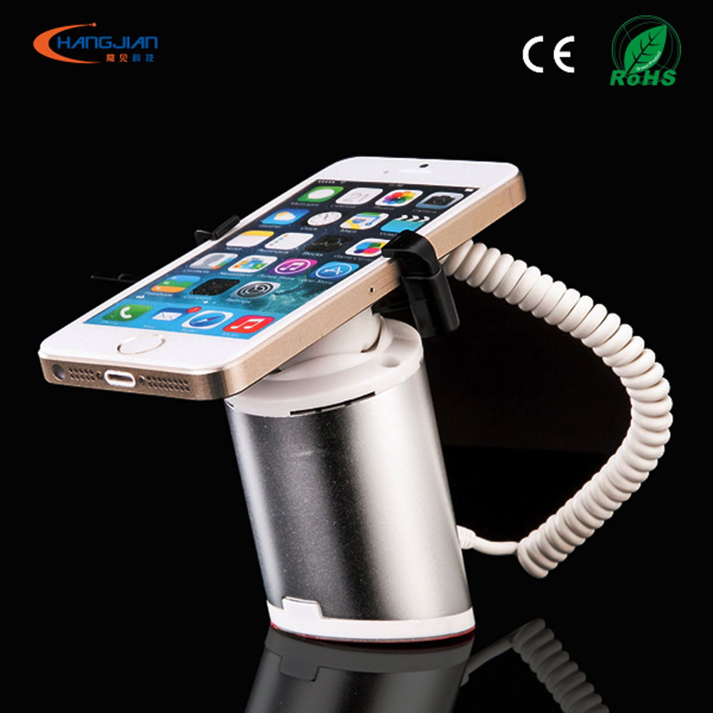 mobile phone alarm display holder stand with charging function for telecom carrier retail store