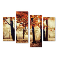 Landscape red tree canvas prints for decoration