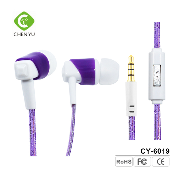 Flat noodle cable plastic earphones bass wired communication ear plug wired earphone with mic