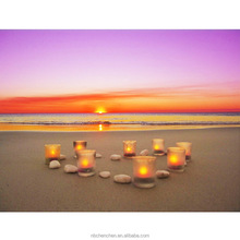 Light up led candle light pictures on beach sunset painting canvas art prints wall art for home decorative cheap giclee art work