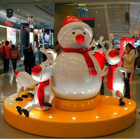 decorative life size Fiberglass Christmas Snowman Decoration for shopping mall