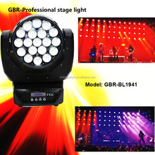 GBR Guanzhou Mac aura scanner 19pcs 15w zoom led moving head wash led light bulb