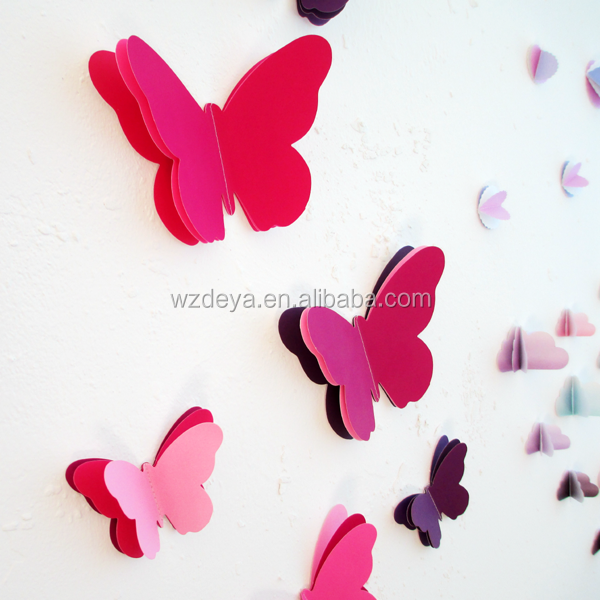 Popular best selling room decor 3d paper embellishment butterfly kids wall art sticker home decor