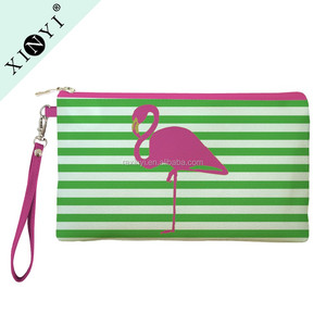 New design fashion eco beauty cosmetic bag funny striped flamingo print makeup bag with custom logo