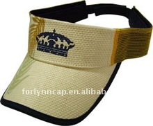 custom paper straw sun visor cap with crown logo