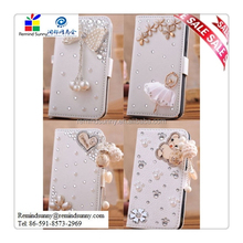 3D Bling PU Leather Flip Wallet Crystal Rhinestone Case Cover for Samsung iPhone