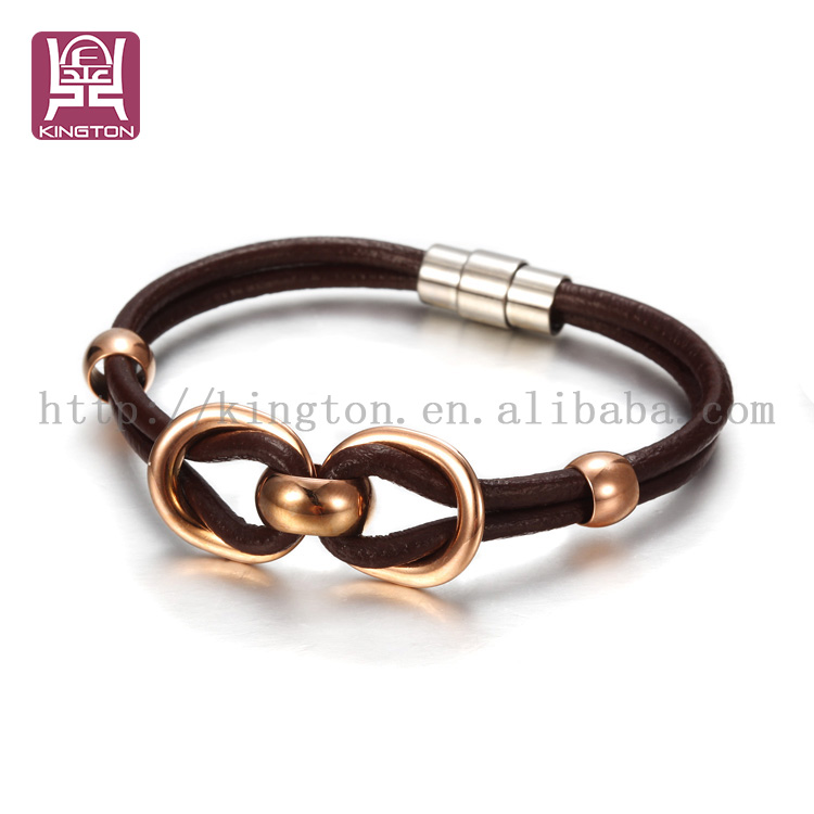 wholesale plain stainless steel leather bracelets with magnetic clasp