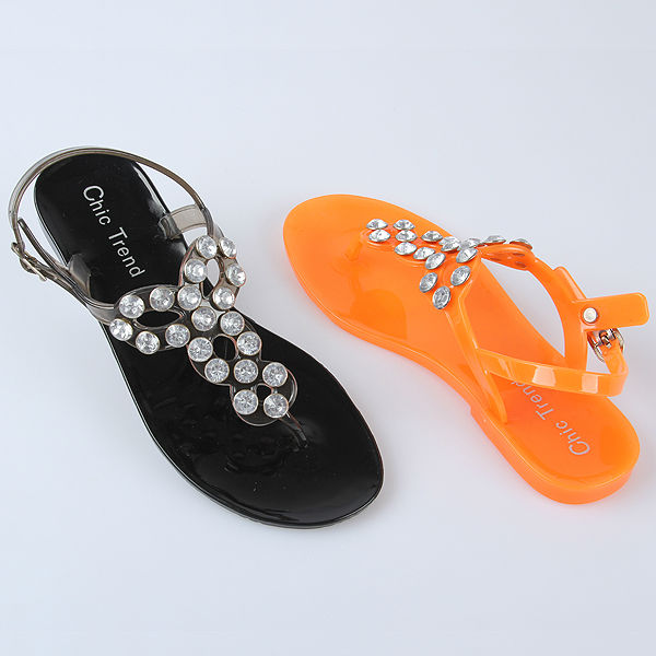 Latest Lady Flipflop Sandals Transparent Jelly Sandals Manual Nail Bead Flat Sandals