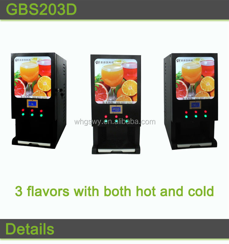 Yinong GBS203D Made in china 3 hot and 3 cold drinks flavors mini nescafe tea coffee vending machine