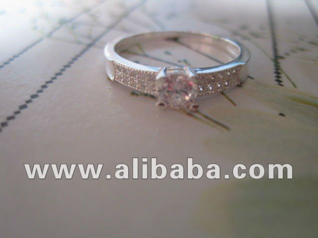Clear CZ Silver Ladies Ring