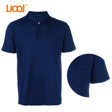Mens button navy blue polo t shirts plian with pocket for men