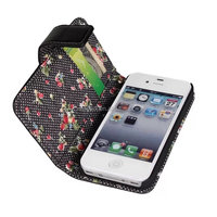 Black Floral PU Stand Wallet Leather Case Cover For Apple iPhone 4 4G 4S Case