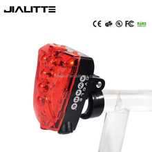 Jialitte B041 Bike Cycling Safety Zone Tail Light 5 LED + 2 Red Laser with Rechargeable Li-ion Battery