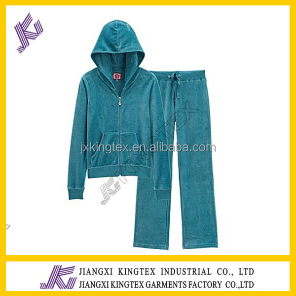 sport 100%polyester hooded velvet lady's jacket with long pant