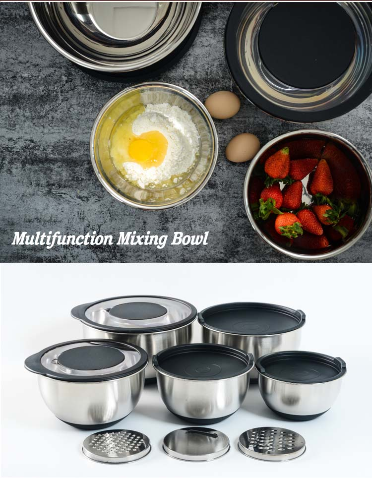 Wholesale Stainless Steel Mixing Bowl with Non-Skid Silicone Bottom
