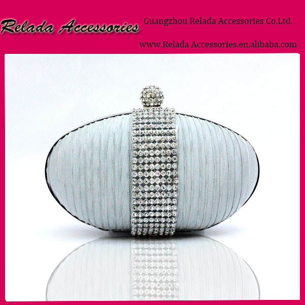 Fashion Ladies Purse Vogue Handbag Evening Party Bag Satin Pleated Wedding Bridal Clutch bags with metal mesh rhinestone