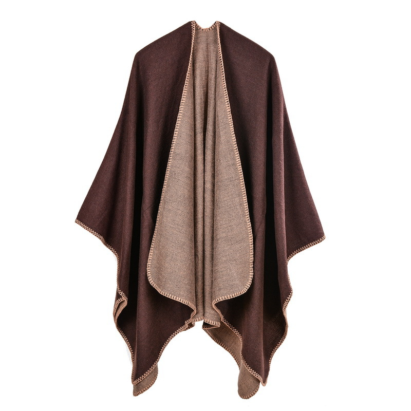 ZH0968H Wholesale sweater scarf women plain cape poncho