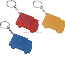 Logo printed Plastic truck shape 1M mini retractable tape measure with keychain for promotion
